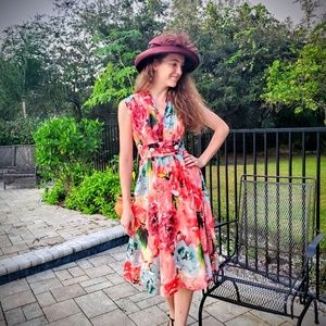 *Unique Vintage Floral Chiffon Dress*